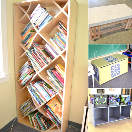 Clockwise, Left to Bottom Right: X-shelves with donated children's books, concrete top coffee table with leaf imprints, toy chest, and toy cubby/bench